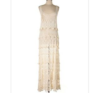 Love stitch tiered crochet Maxi/swimsuit cover-up